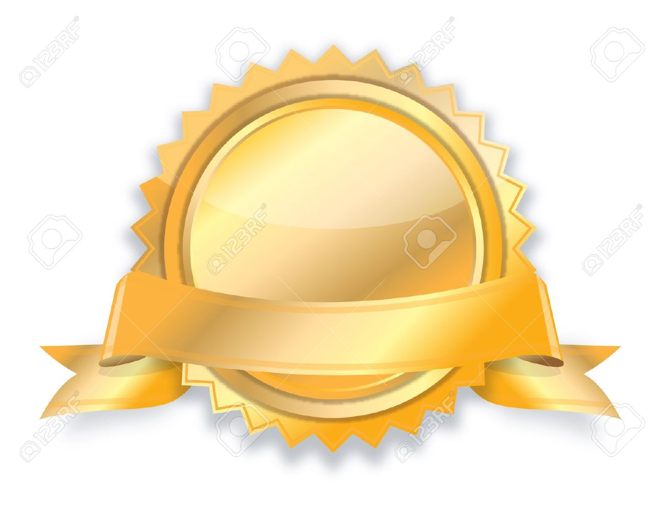 blank golden award medal with ribbon stock photo picture and