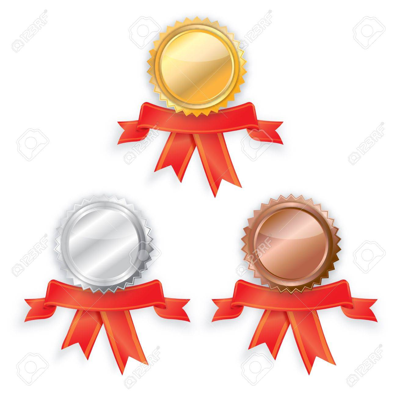 blank Gold, silver and bronze award ribbons. Stock Photo - 15788738