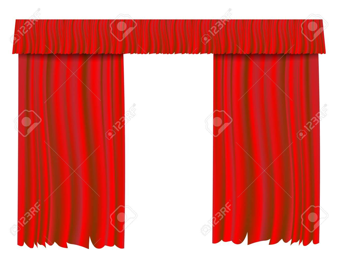 Red theater curtain  illustration background. Stock Photo - 17445202