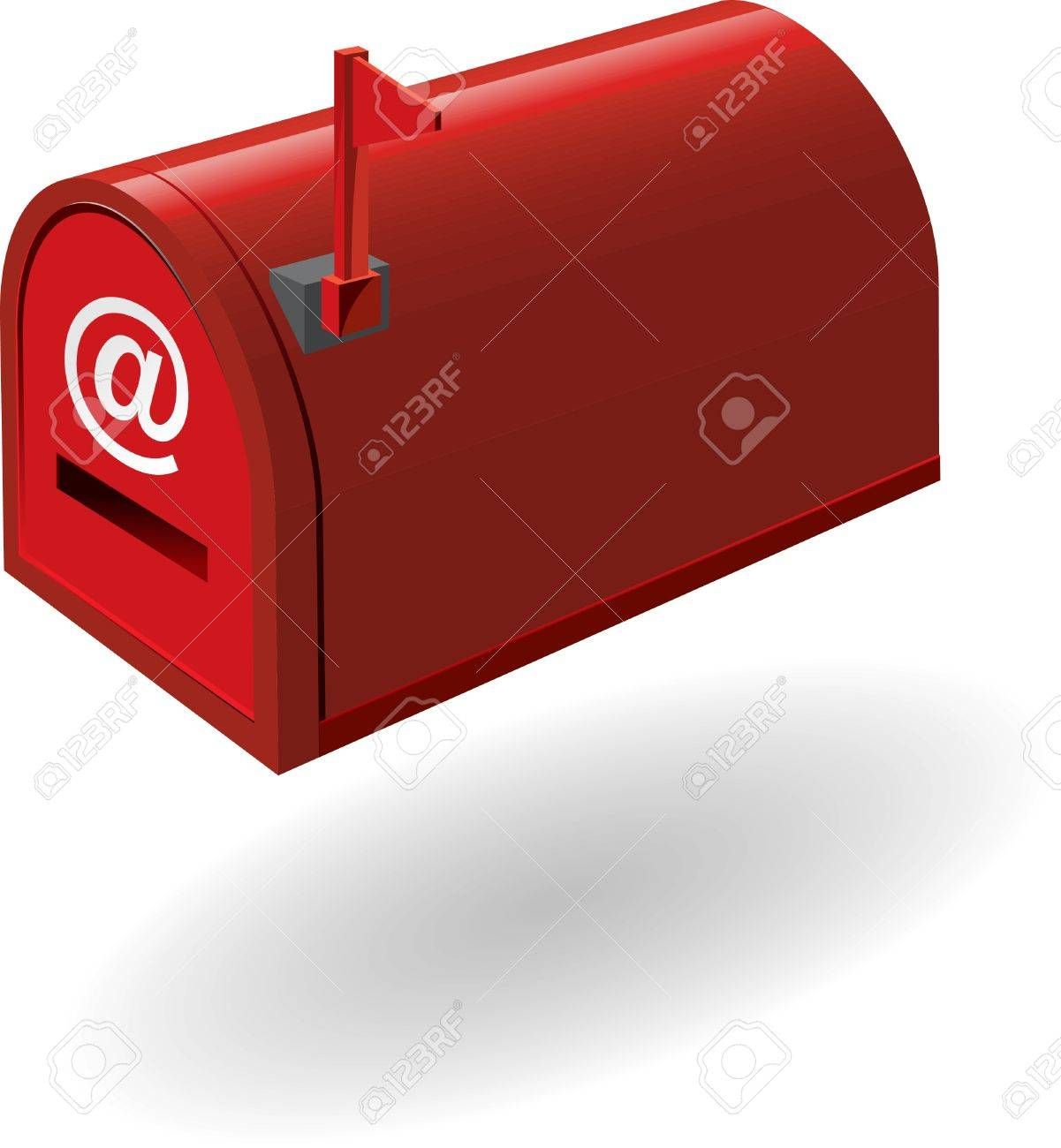 red mailbox with the flag raised   illustration Stock Photo - 17474208