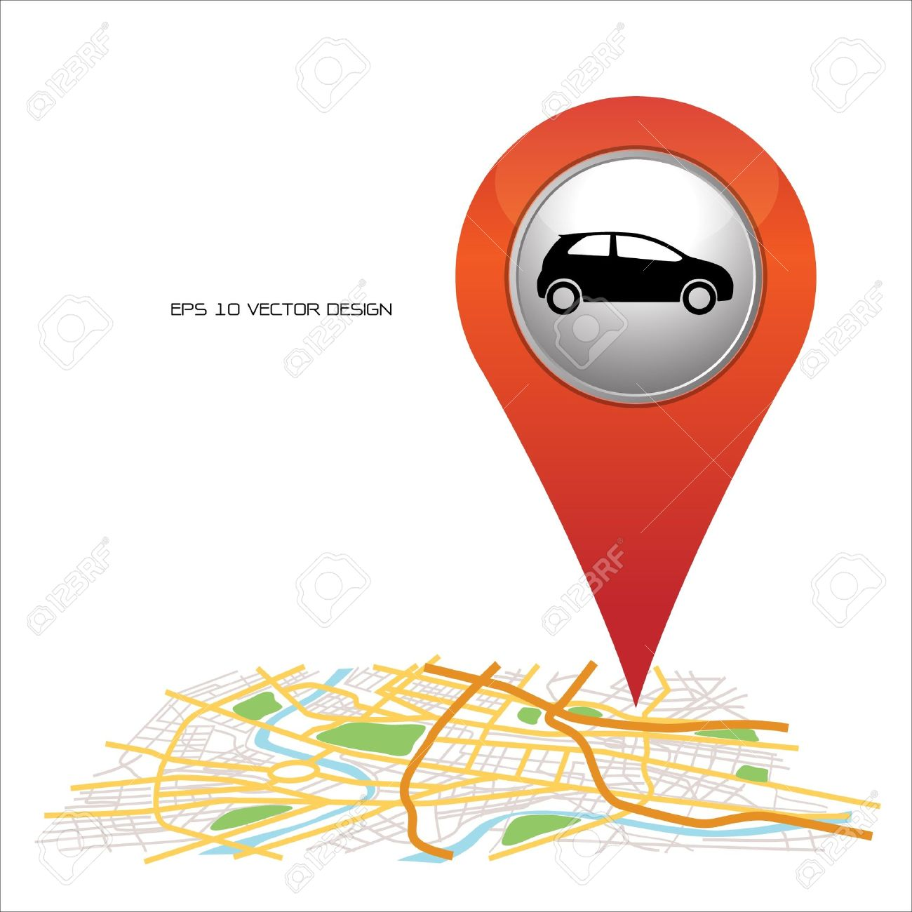 Car, Pin Pointer On Map Location Royalty Free Cliparts, Vectors, And Car Map on