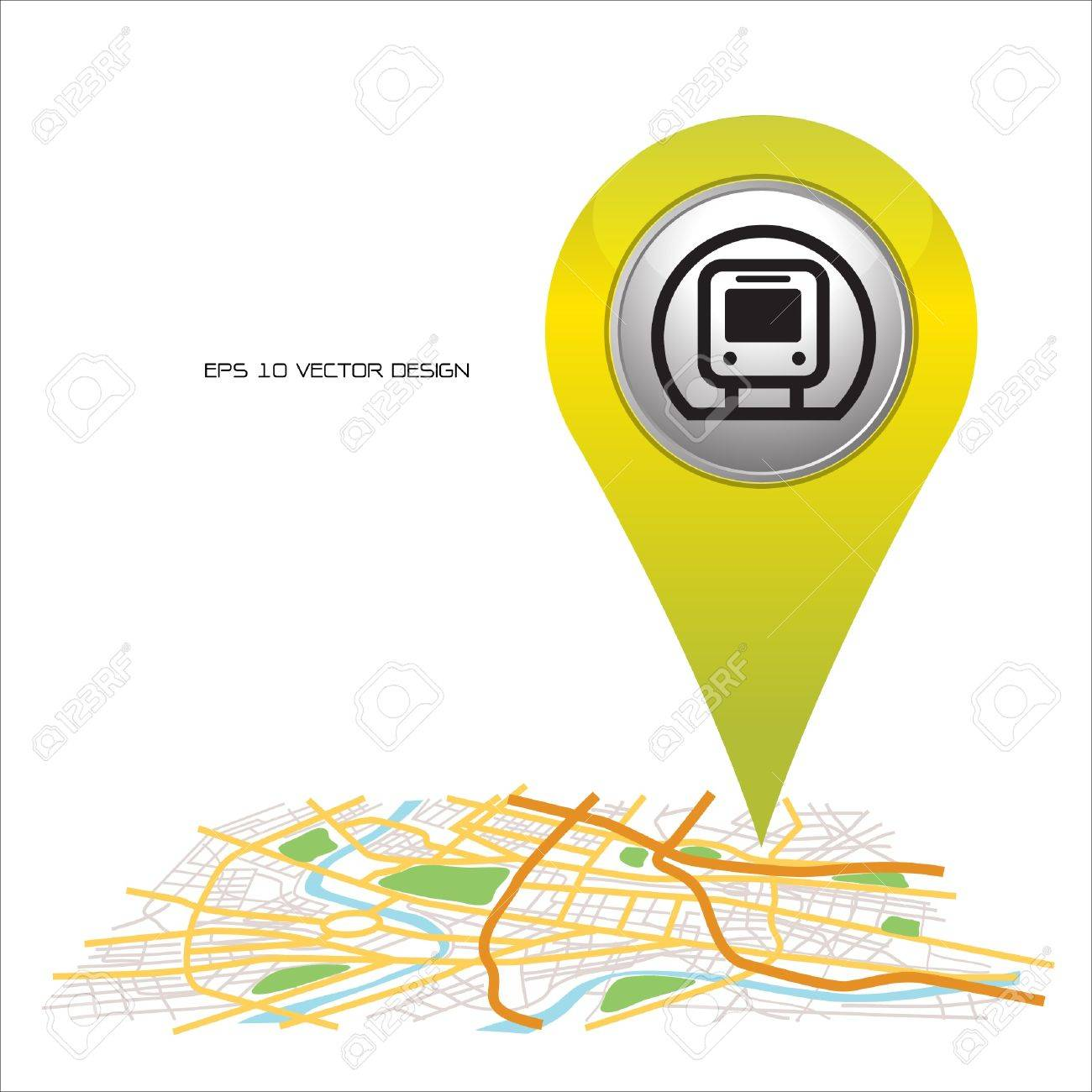 Subway  pin pointer on map location Stock Vector - 20732020