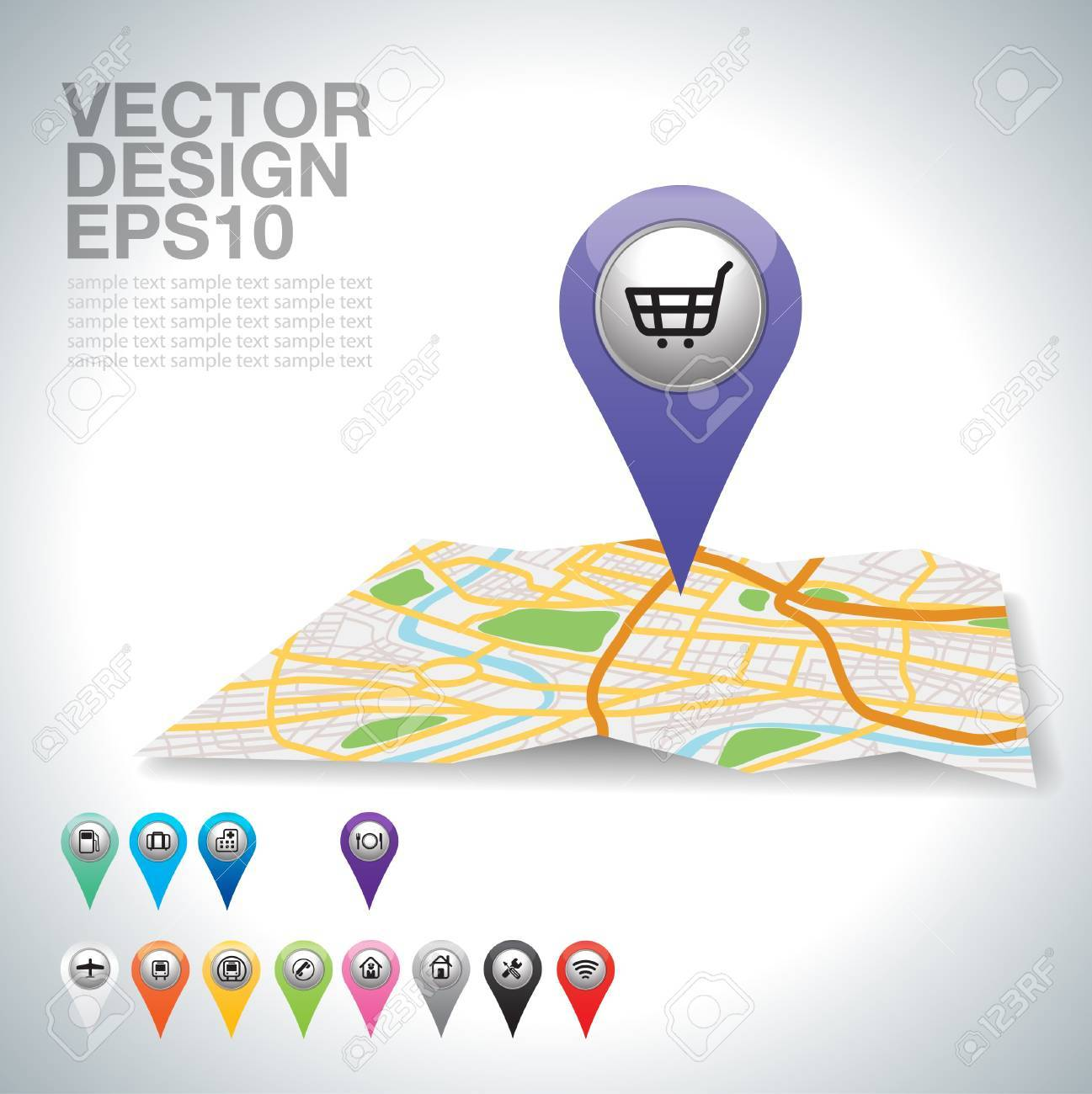 purple shopping cart pointer on map location Stock Vector - 20732050