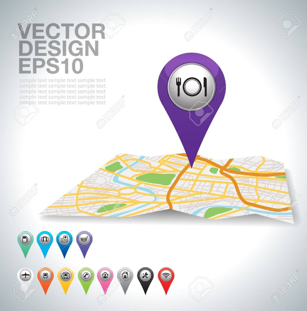 restaurant pointer on map location Stock Vector - 20732051