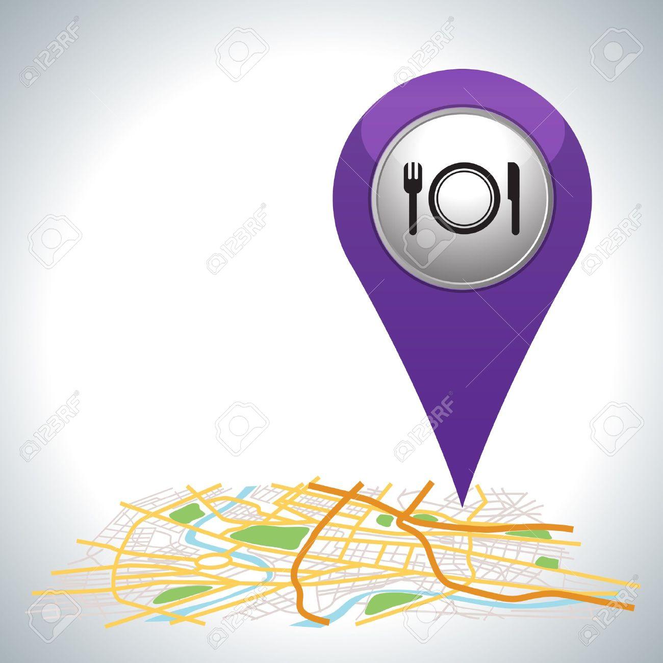 purple restaurant pointer on map location Stock Vector - 21189498