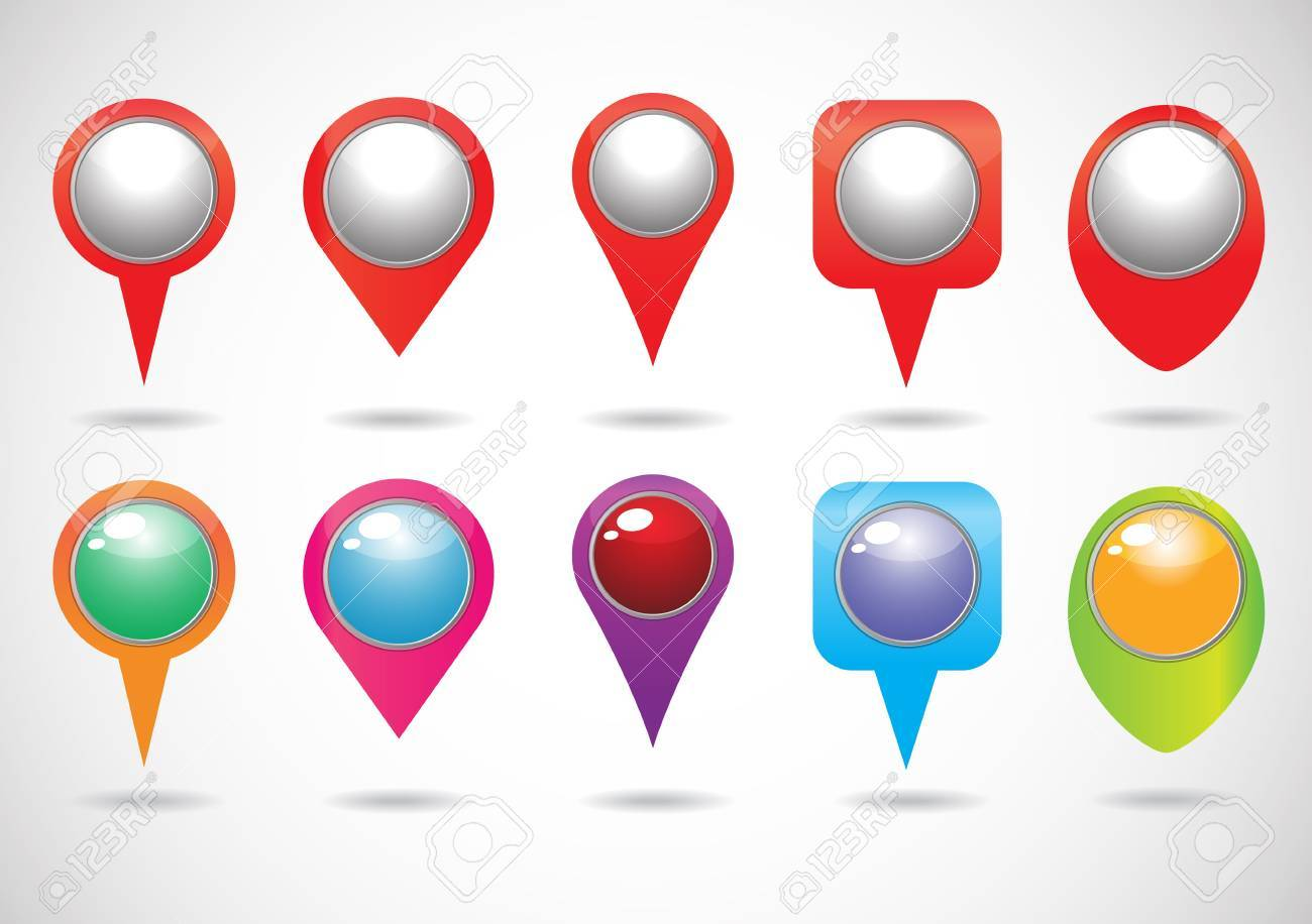 colorful of Vector Map Pins Pointer Icons Stock Vector - 21189467