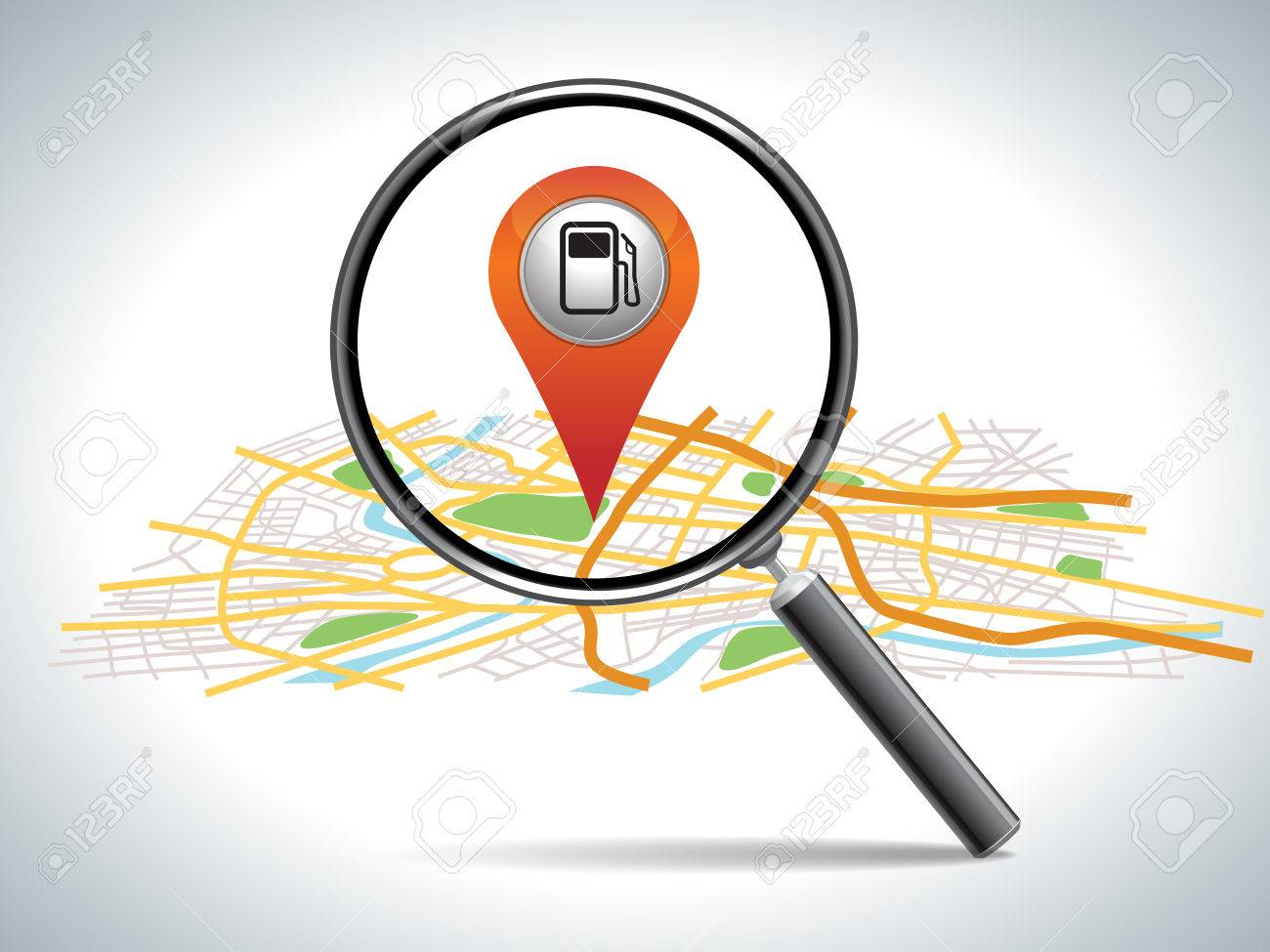 Find Gas Station Pin Pointer On Map Location Royalty Free - Los angeles map location