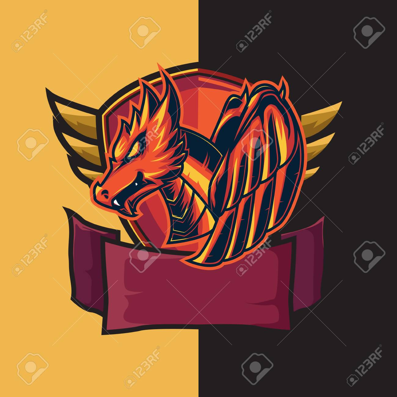 Esport logo for gaming with red dragon and shield theme