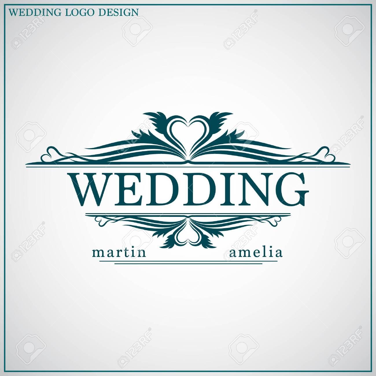 Wedding logo design template. Wedding logo vector. Feminine elegant..
