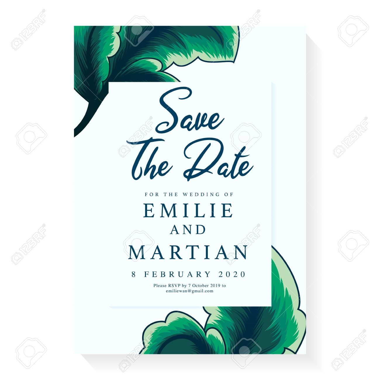 Minimalist Wedding Invitation Card Template Design Wedding Ornament