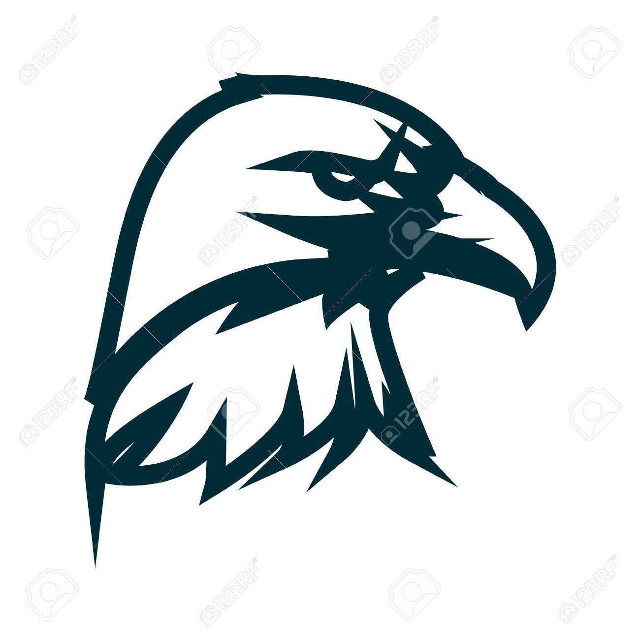 Eagle line art logo design  Eagle head outline vector illustration