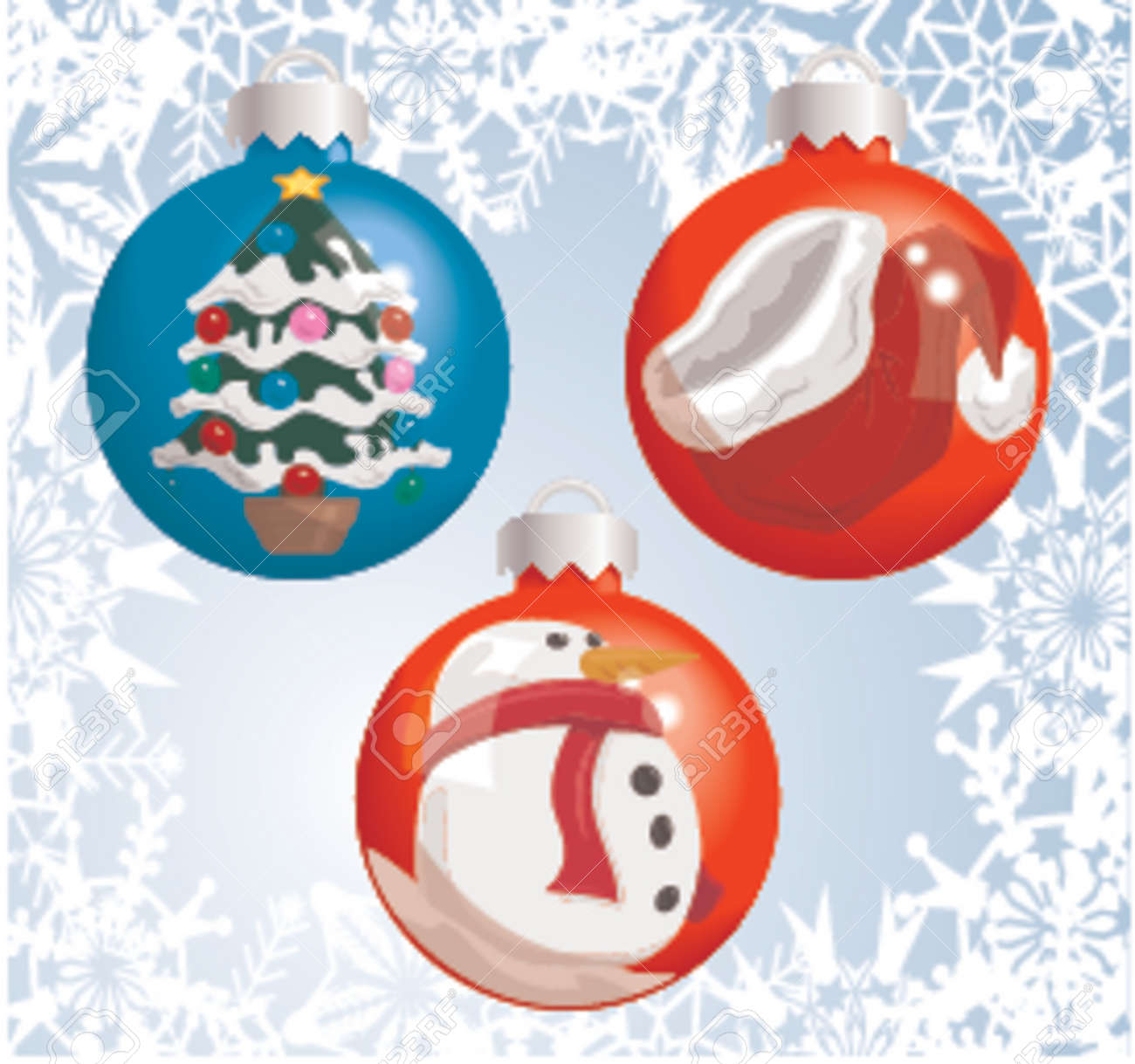 Christmas baubles with pictures of a Santa hat, snowman, and Christmas tree reflected or painted on them! Shading by blends, no meshes used. Stock Vector - 663311