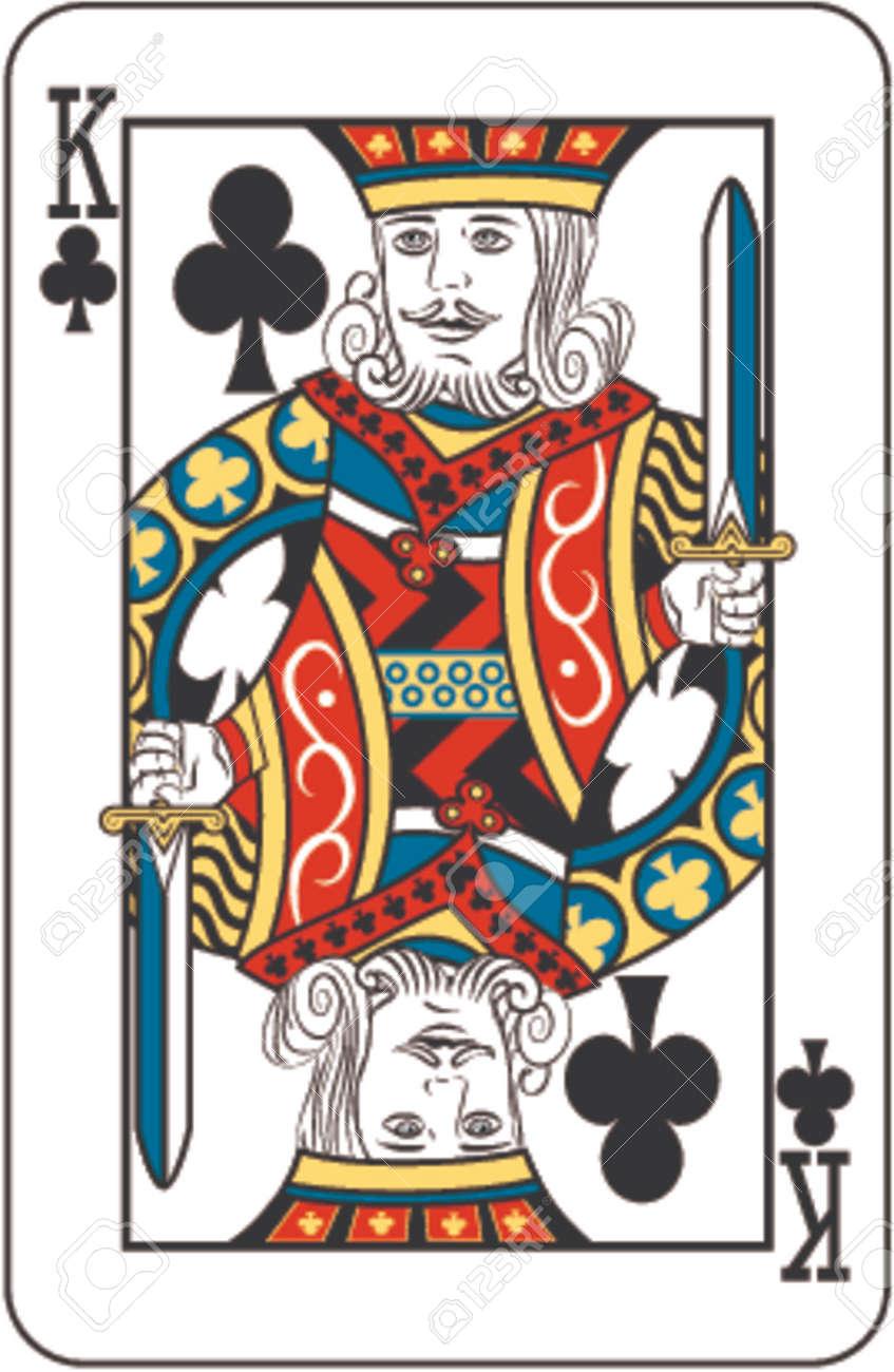 トランプのデッキからクラブのキングのイラスト素材 ベクタ Image