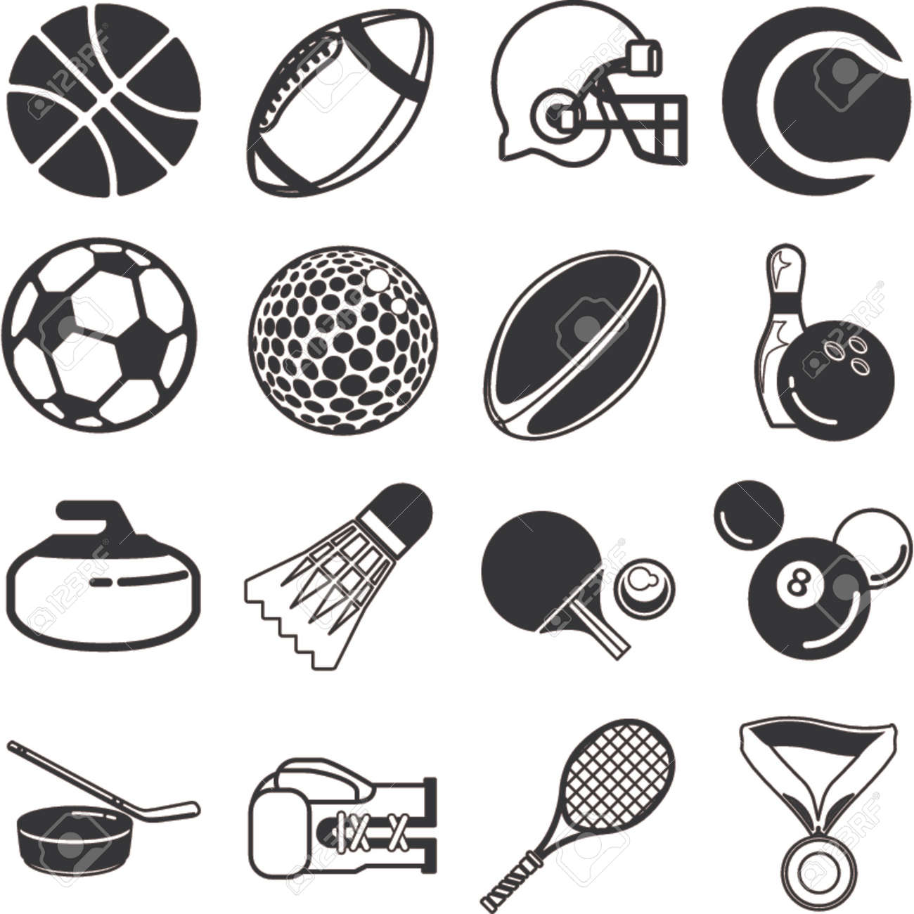 series of icons or design elements relating to sports Stock Vector - 654257