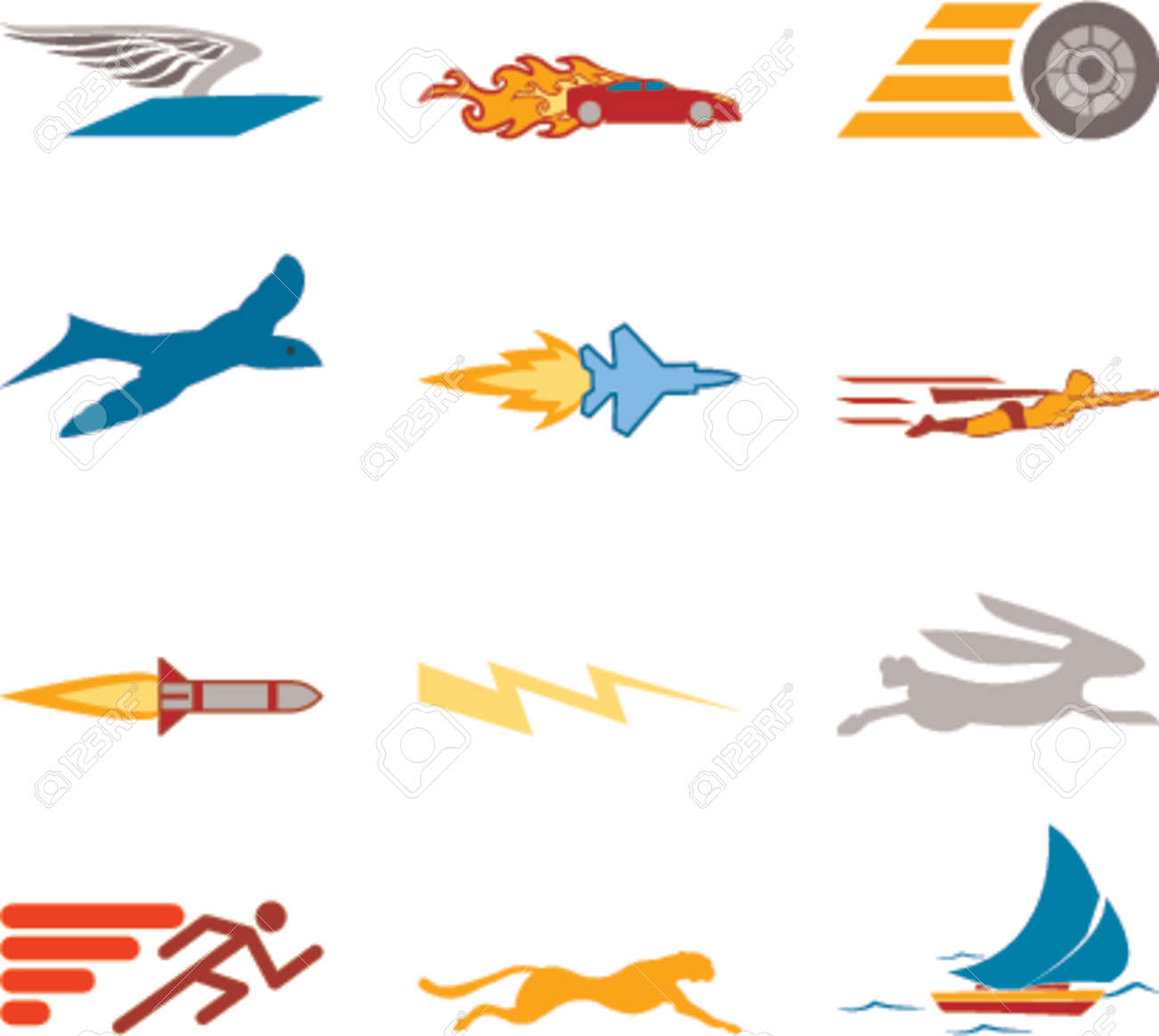 Speed Icon Set Series Design Elements A conceptual icon set relating to speed, being fast, and or efficient. Stock Vector - 791411