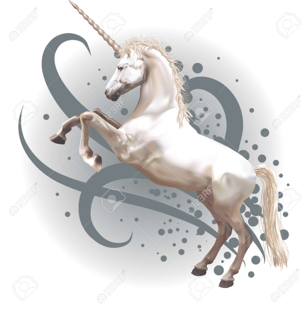 unicorn a vector illustration of a unicorn rearing up on its