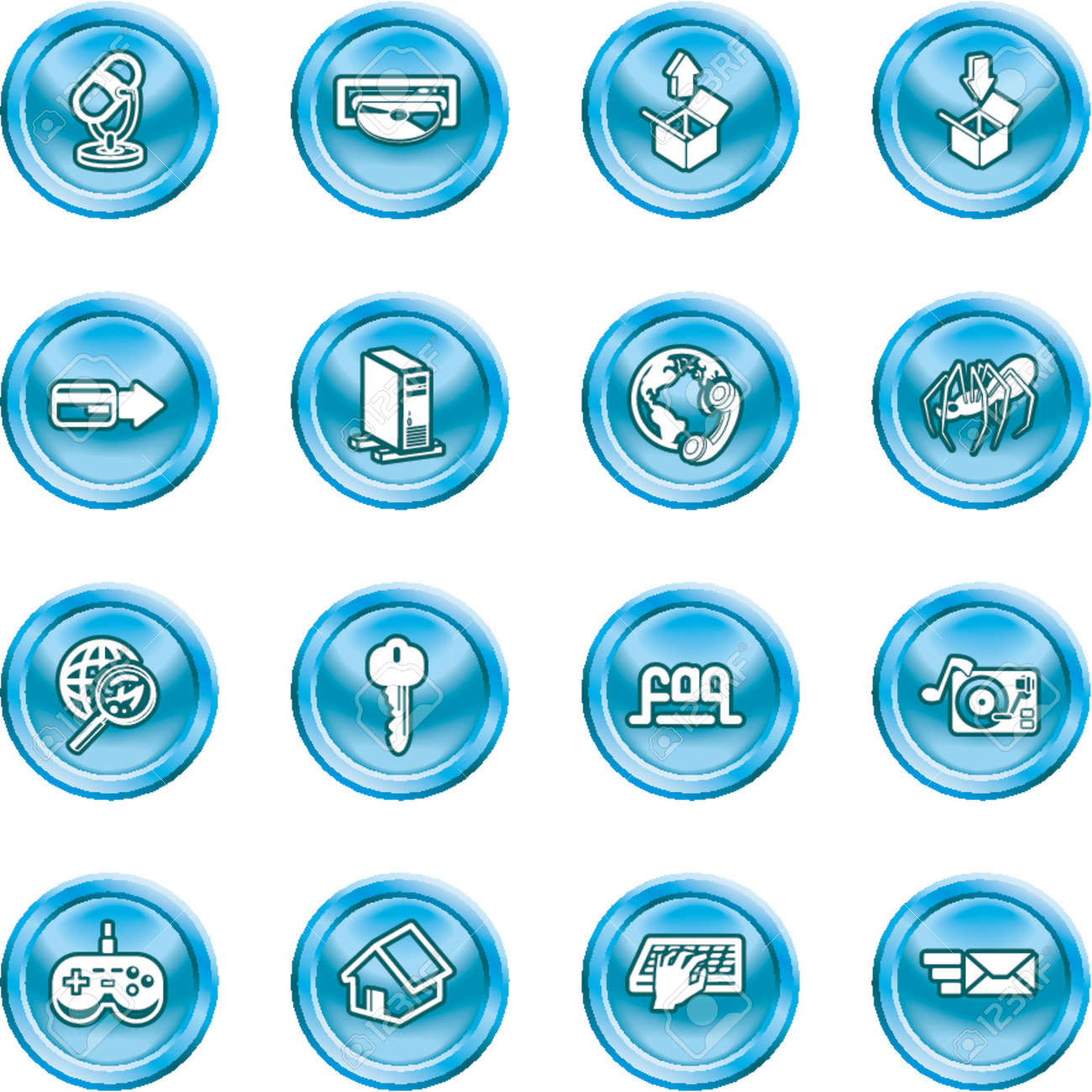 Computing and Website Icons. A set of shiny Computing and Website Icons Stock Vector - 1103748