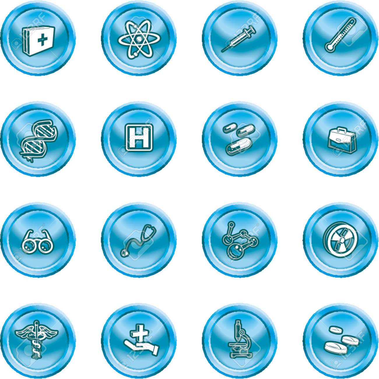 Medical and scientific icons. A set of icons related to medicine and science Stock Vector - 1156108