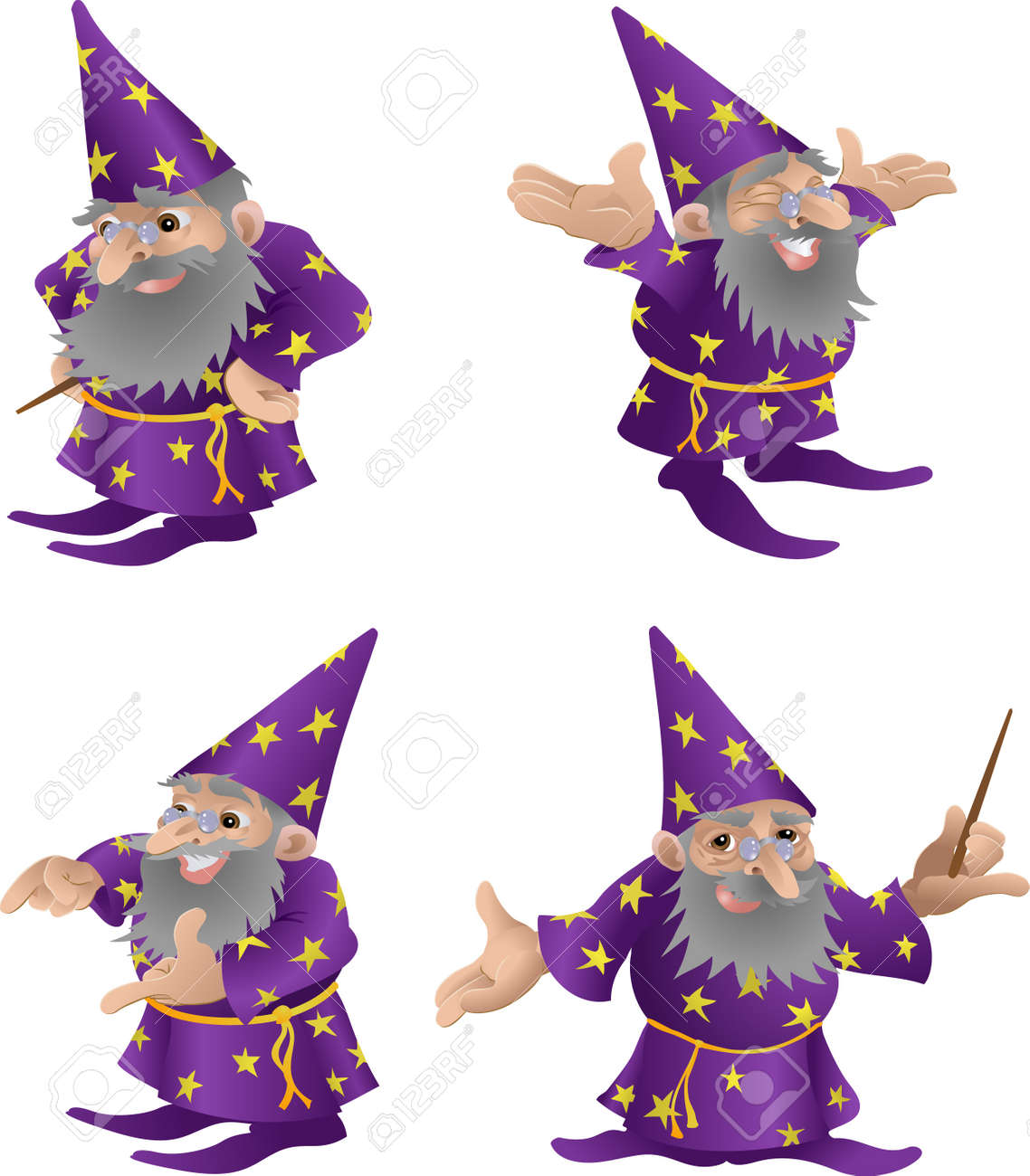 Wizard illustration. An illustration of a very funky friendly wizard in four different poses Stock Vector - 2080710