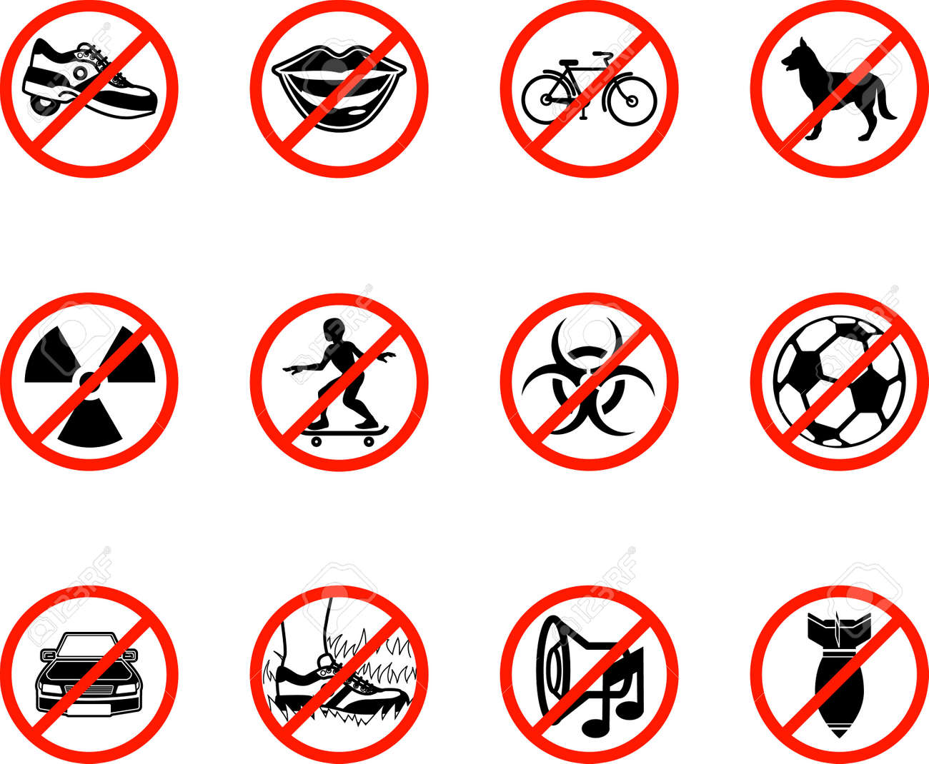 No icons; A series set of icons all outlining things that are prohibited or being called on to be banned! E.g. No talking, no cycling, no dogs, no ball games etc. Stock Vector - 2234765