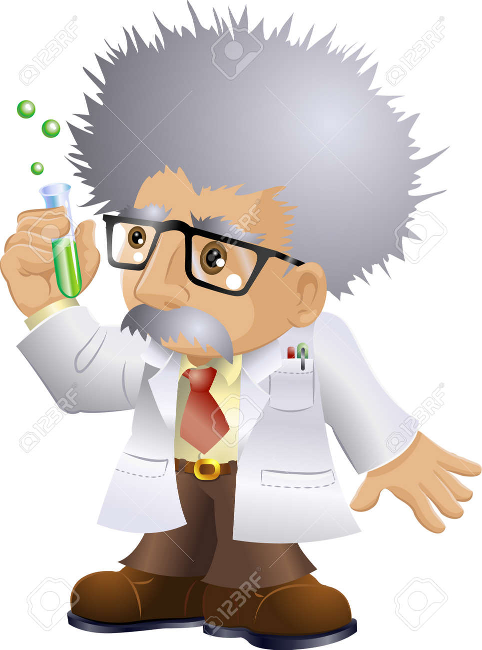 Illustration of a kooky professor or scientist holding a test-tube Stock Photo - 2397591
