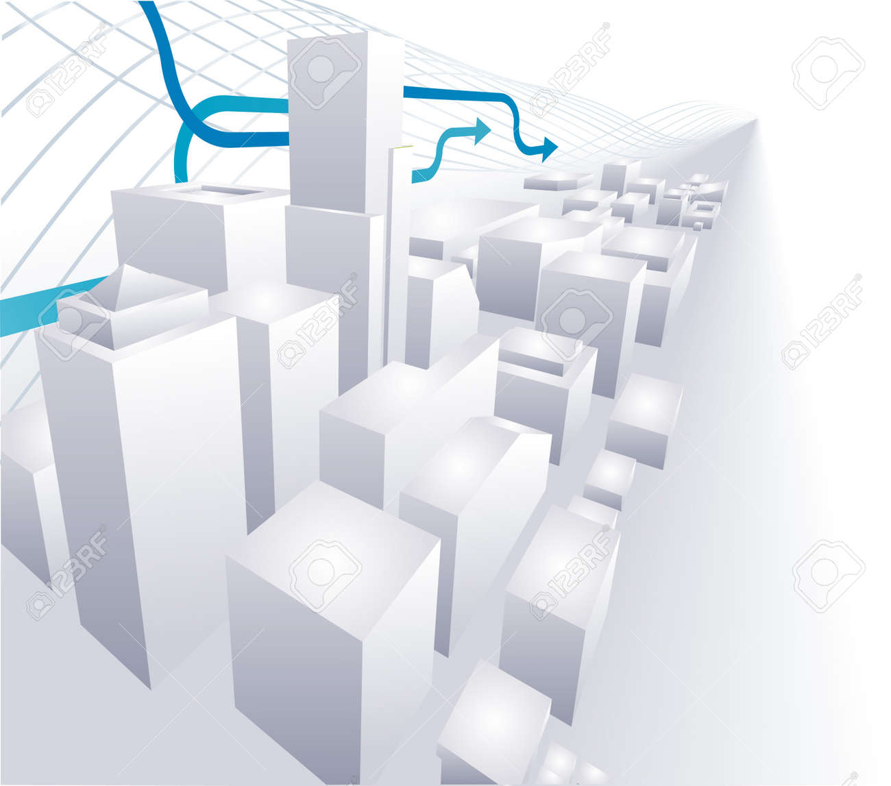 A dynamic vector 3D City conceptual abstract background Stock Vector - 2515193