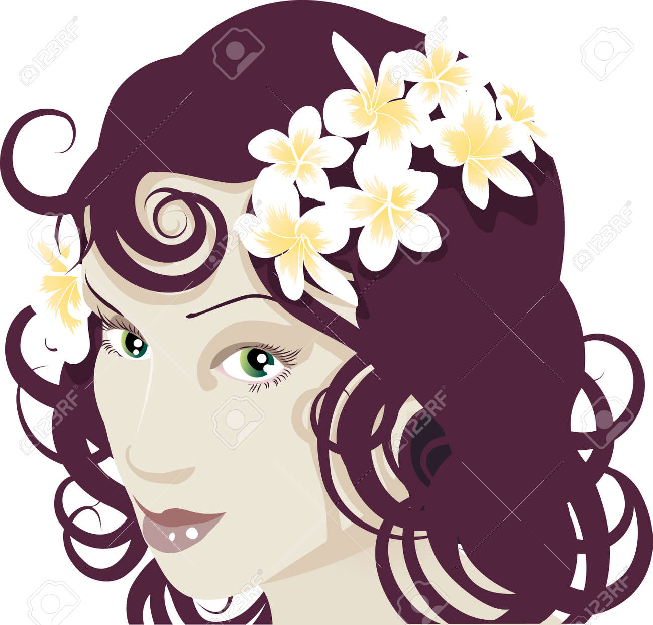 Close up of beautiful young woman�s face with flowers in her hair Stock Vector - 2770815