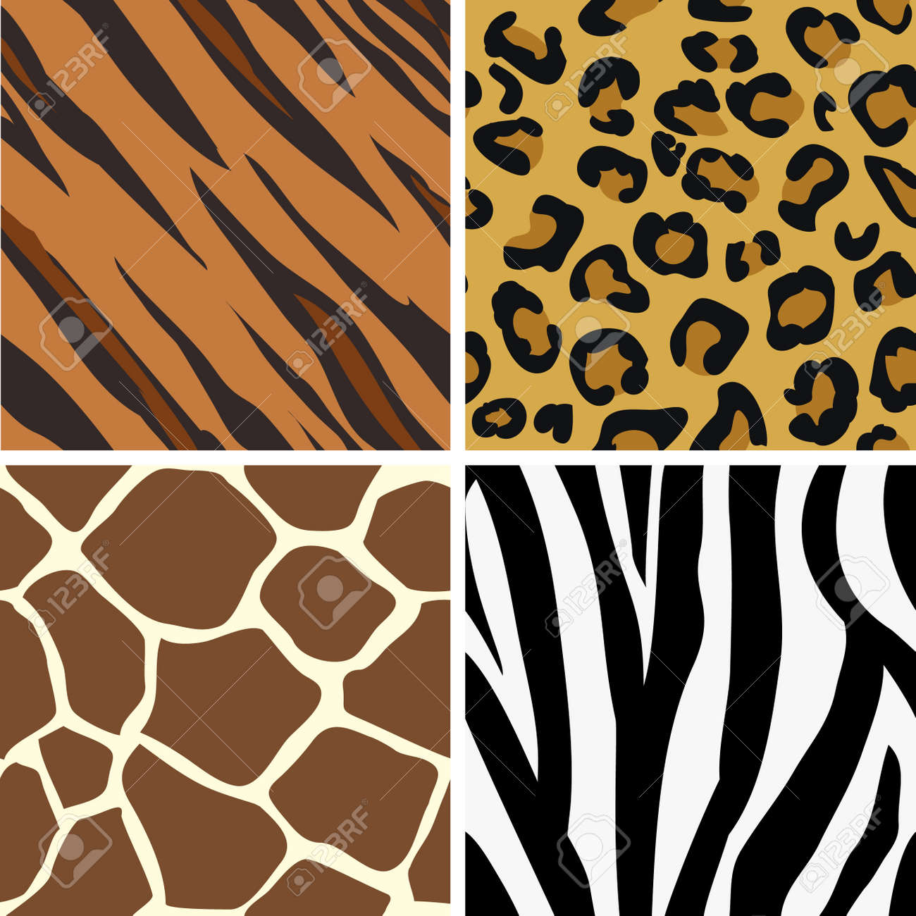Seamless tiling animal print patterns of tiger, leopard, giraffe and zebra. Created especially to look at their best when tiled. Stock Vector - 2827782