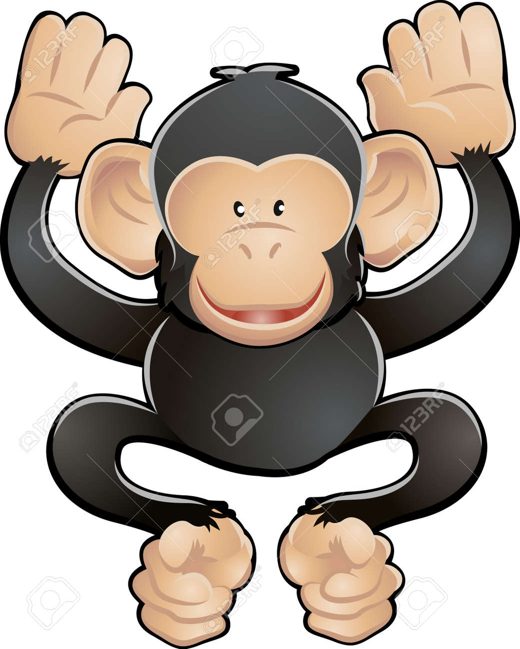 A vector illustration of a cute friendly chimpanzee Stock Vector - 2909568