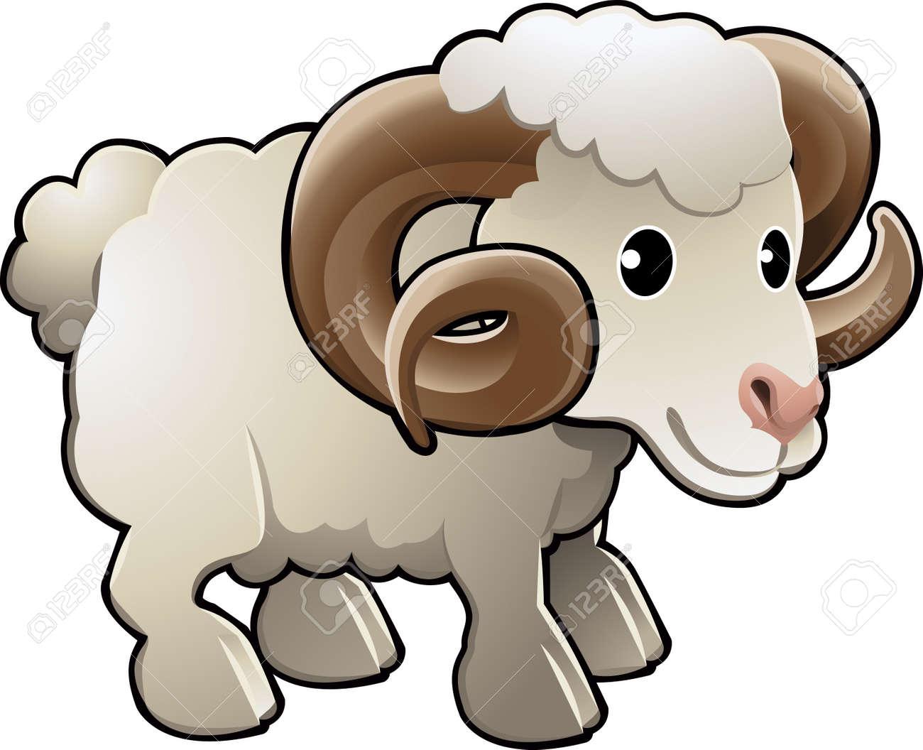A cute ram sheep farm animal vector illustration - 2909569