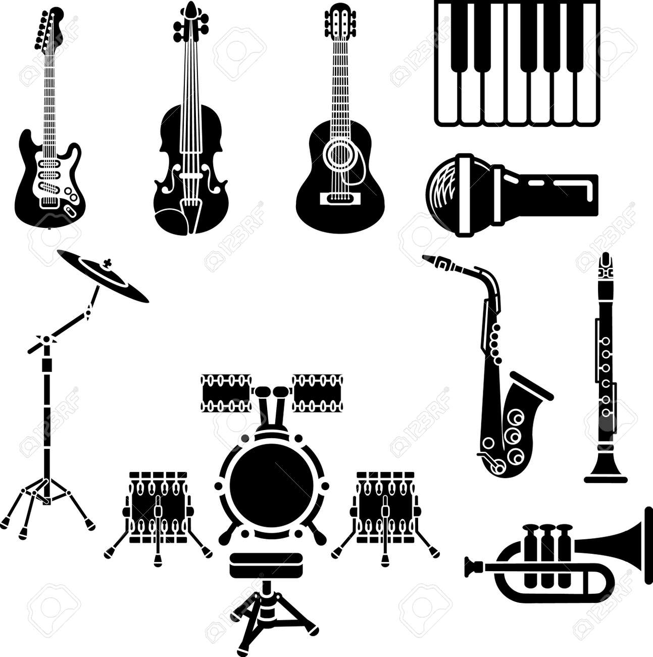 A vector icon set of musical instrument simple outline silhouettes Stock Vector - 3104834