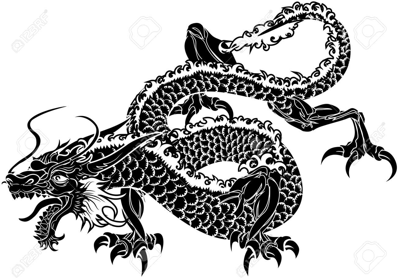 Illustration of black Japanese dragon on white background Stock Vector - 3622808