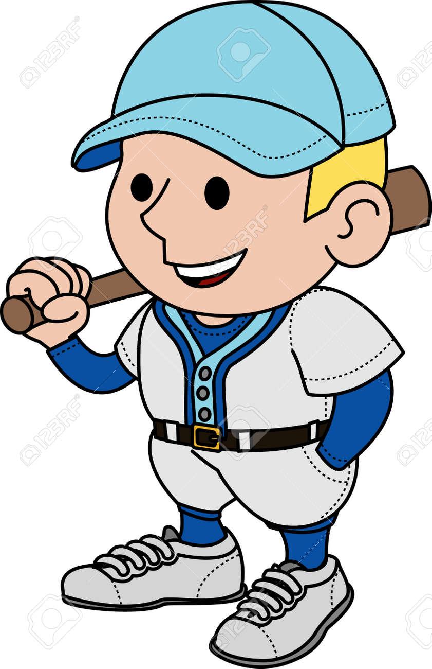 Illustration of male baseball player holding bat Stock Vector - 3779289