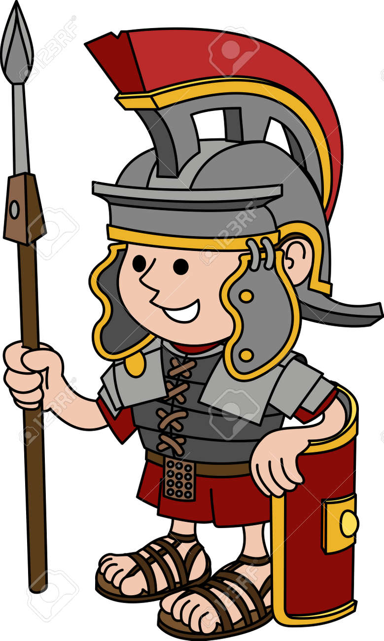 Illustration of Roman soldier holding sword and shield Stock Vector - 3779294