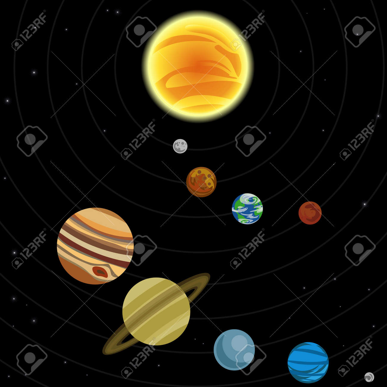 Illustration of solar system with stars and planets Stock Vector - 3946979