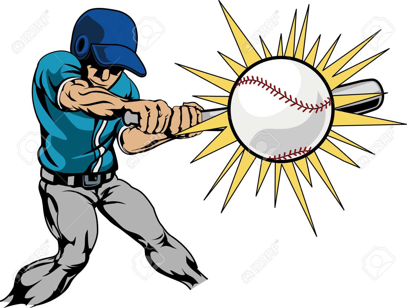 Illustration of baseball player swinging bat to hit baseball - 4113464