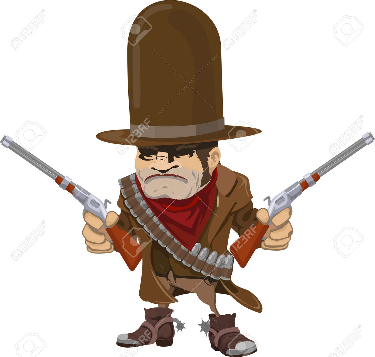 Illustration of cool mean looking cowboy gunman with rifles Stock Vector - 4325325