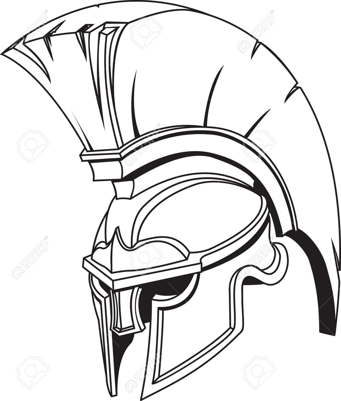 An illustration of Spartan roman greek trojan or gladiator helmet with plume Stock Vector - 4325330