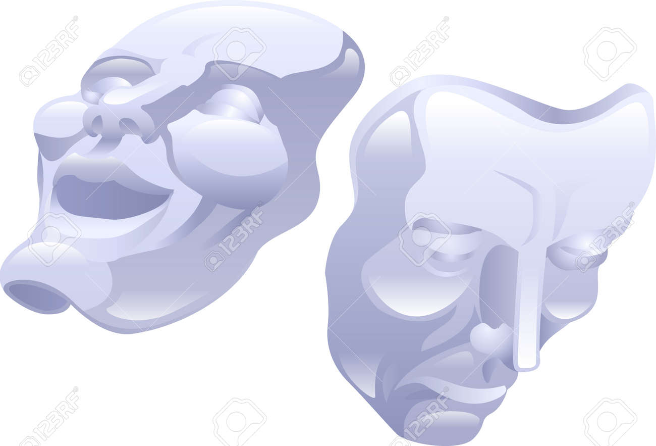 Beautiful Shiny Theatre Comedy And Tragedy Masks. Concept Could ...