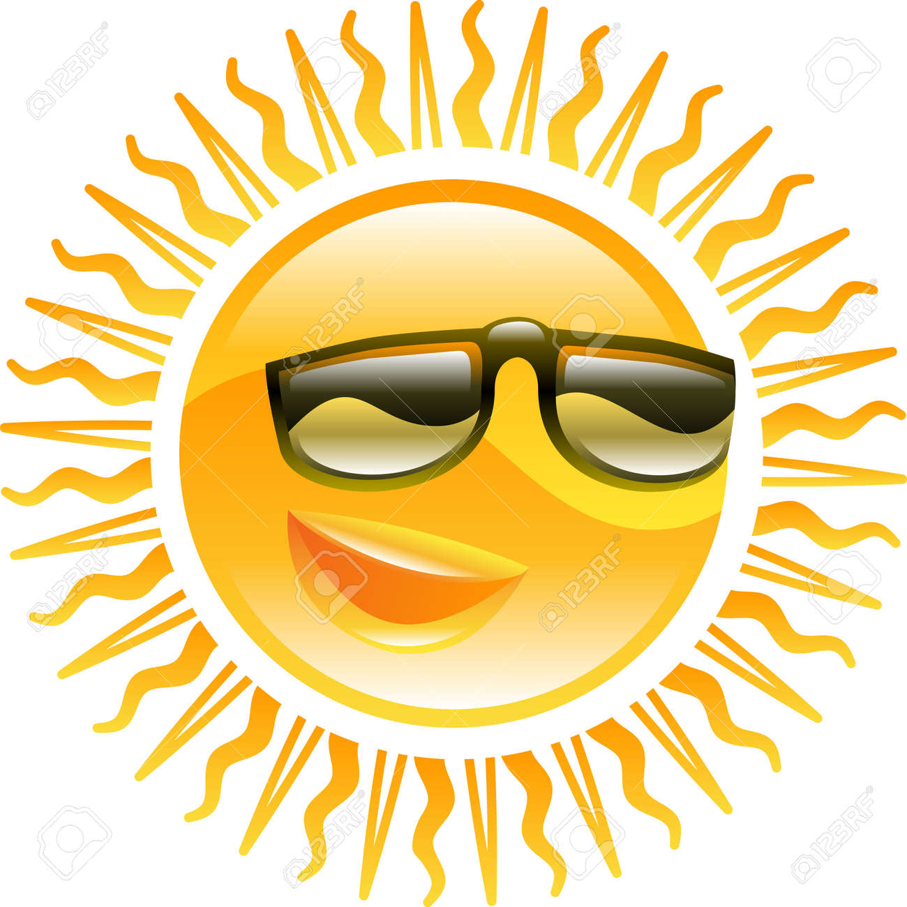 Smiling sun with sunglasses - A Smiling Sun With Sunglasses Icon Illustration Stock Vector 4574315