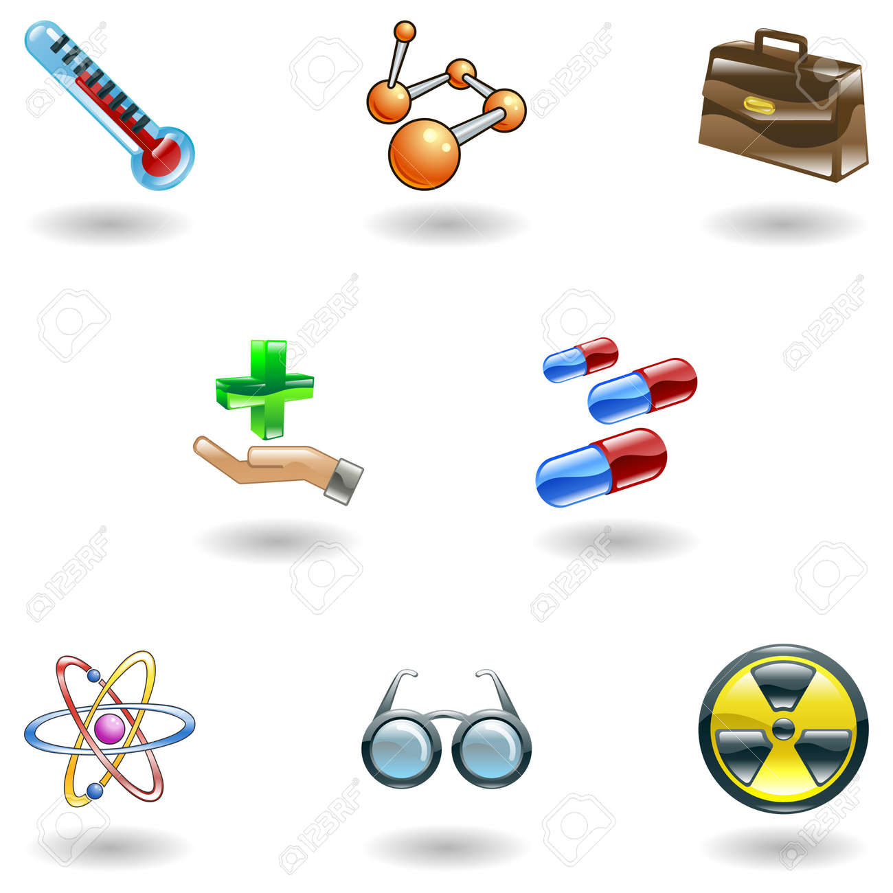 A set of shiny glossy medical icons Stock Vector - 4587410