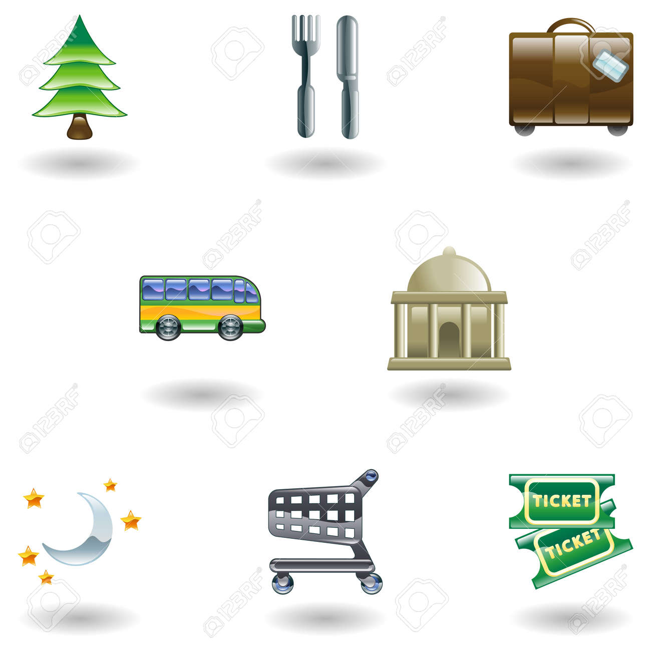 Tourist locations icon set Icon set relating to city or location information for tourist web sites or maps etc. Stock Vector - 4587388