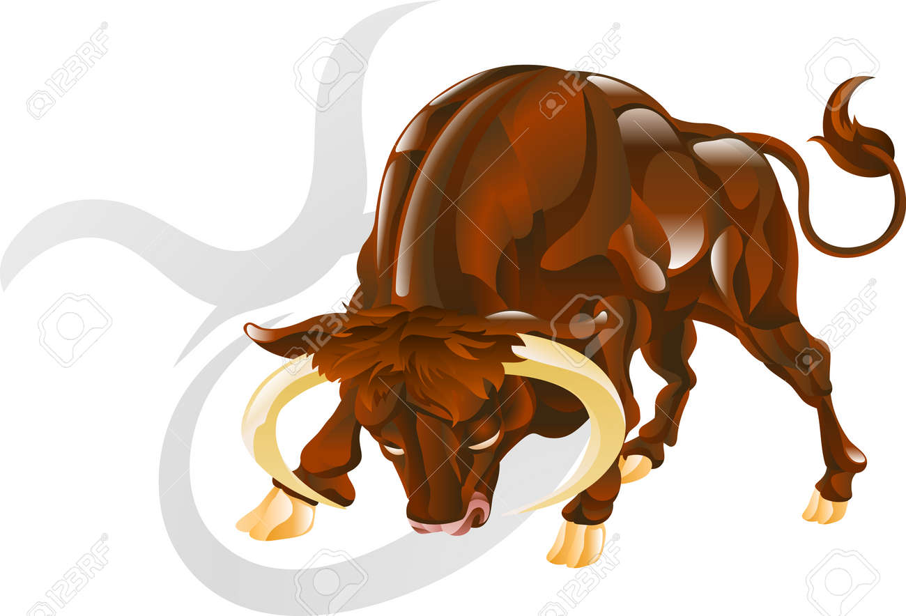 Illustration representing Taurus the bull star or birth sign. Includes the symbol or icon in the background Stock Vector - 4713072