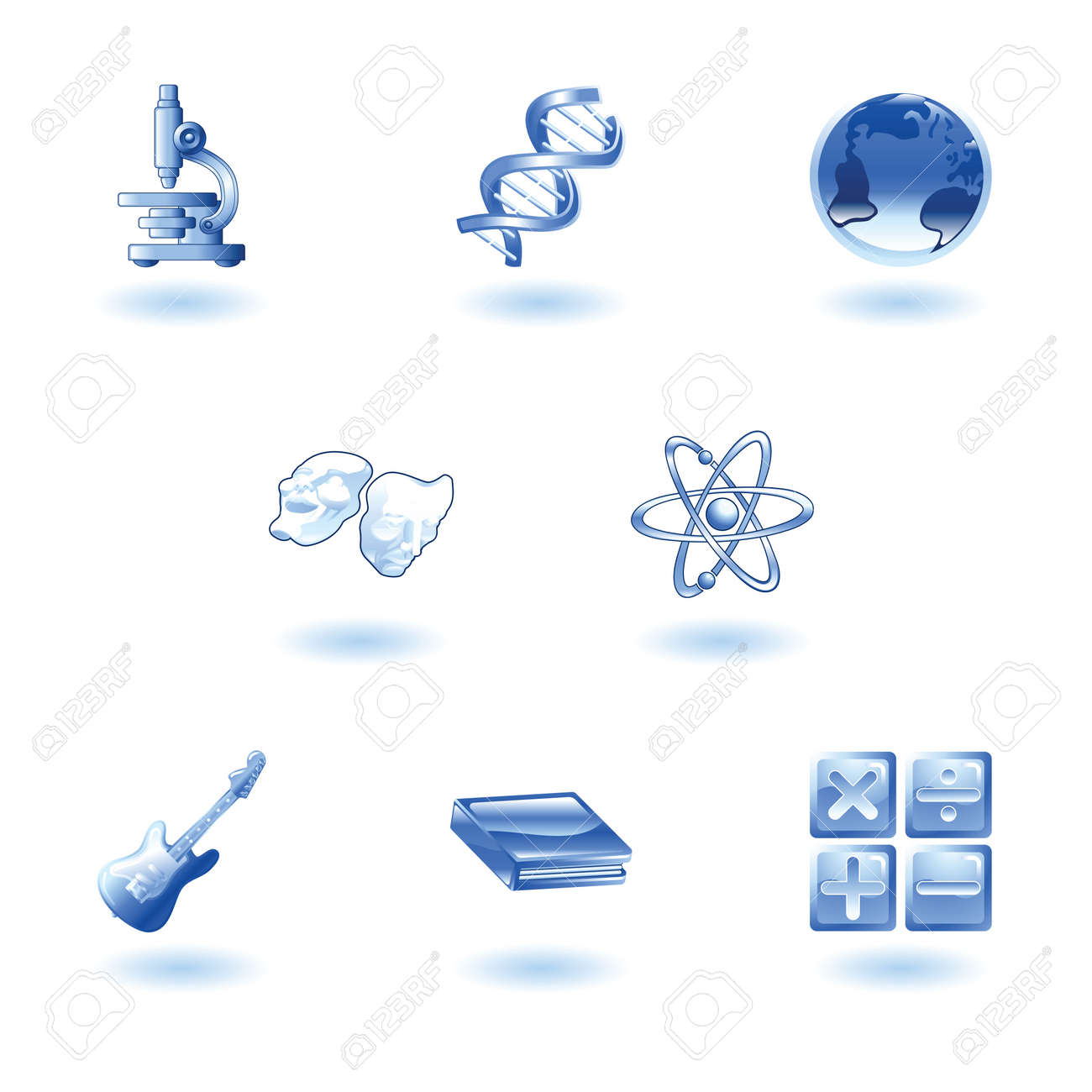 a subject or category icon set eg. science, maths, literature, geography, music, physics etc Stock Vector - 4814158
