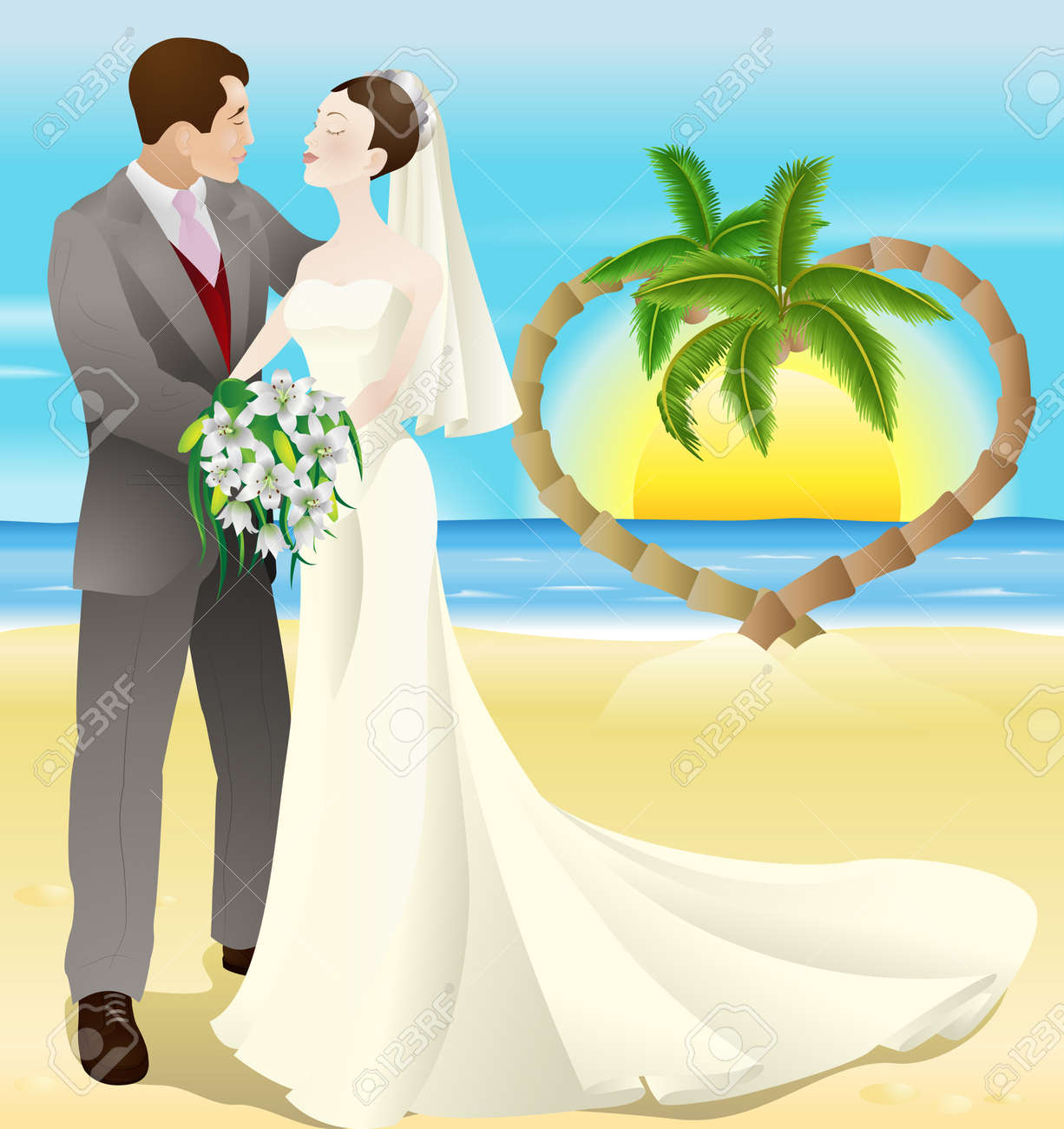 A Tropical Destination Beach Wedding Illustration Bride And Groom Newly Wed On