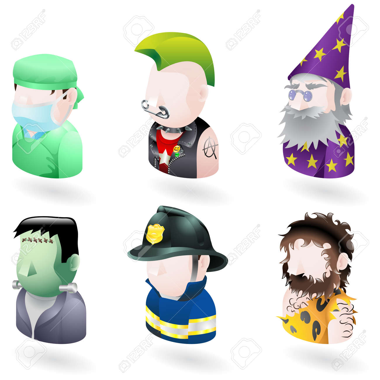 An avatar people web or internet icon set series. Includes a doctor or surgeon, a punk, a wizard or magician, Frankenstein monster, a firefighter or fireman and a caveman. Stock Vector - 5220316