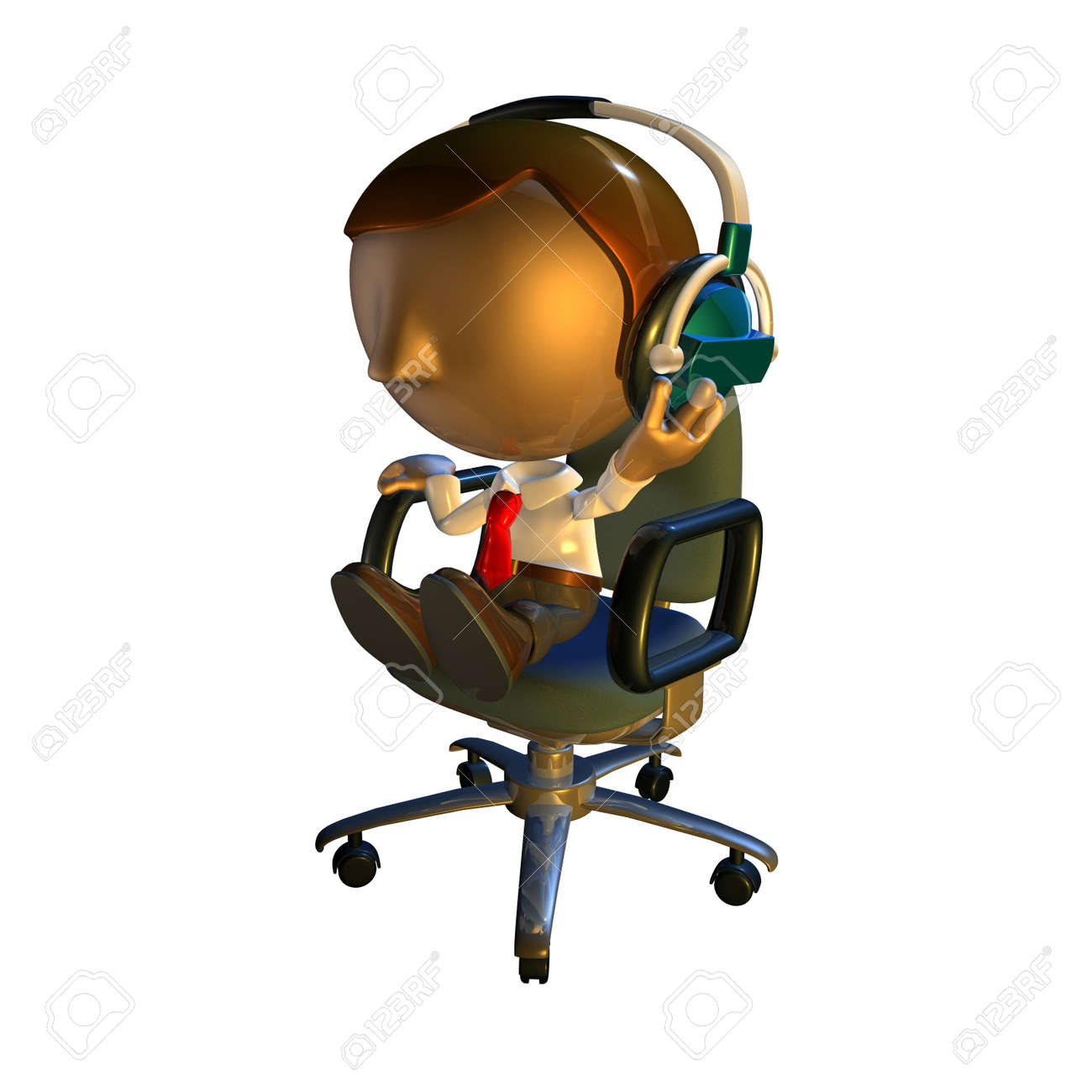3d business man character sitting in an office chair with headphones listening Stock Photo - 5248057