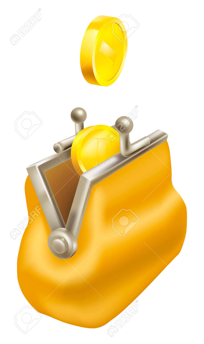 Gold coins dropping into a purse. Concept,  saving money; getting change back. Stock Vector - 8159224