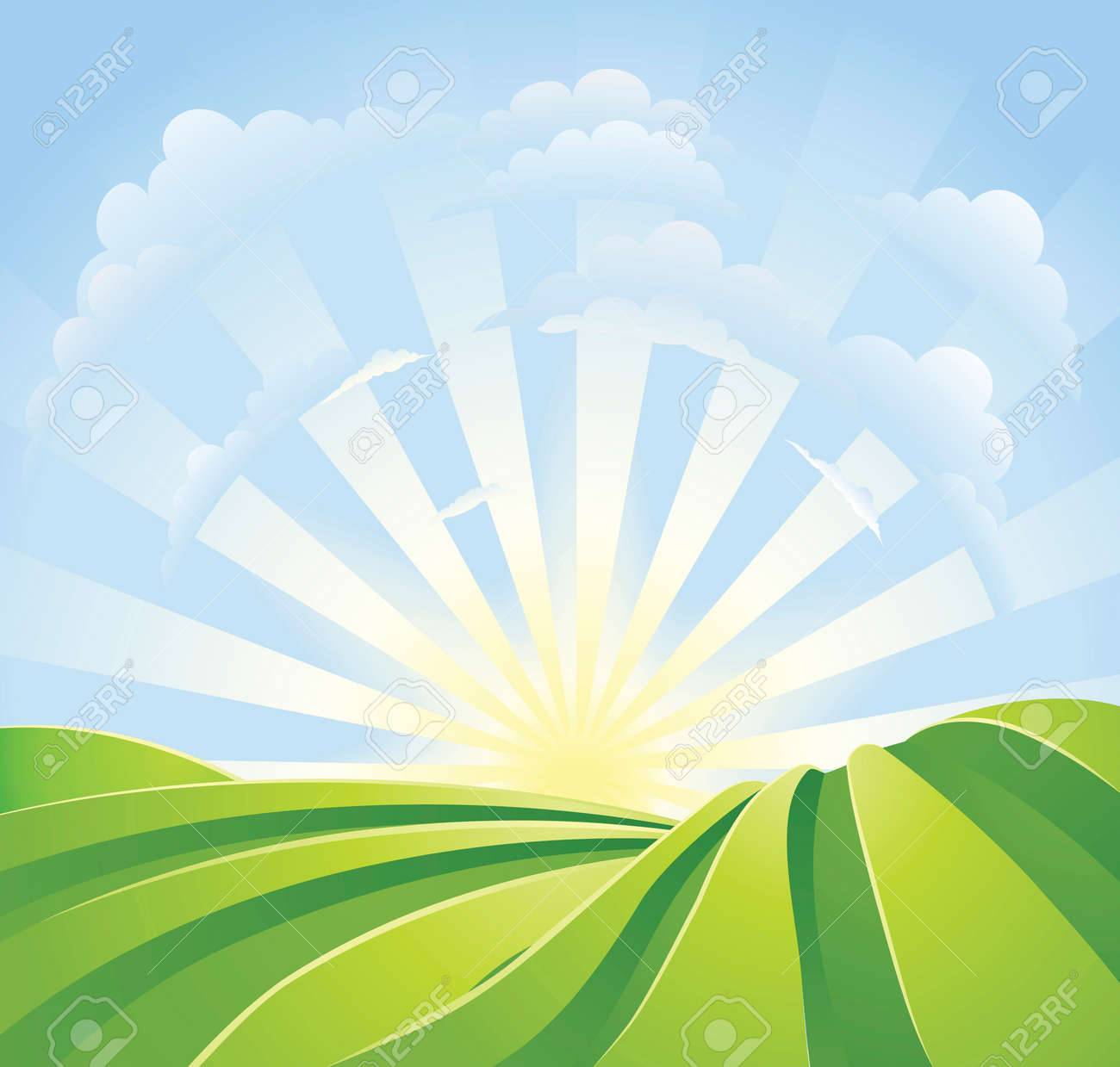 Illustration of idyllic green fields with sunshine rays and blue sky. A perfect landscape scene. - 8600699