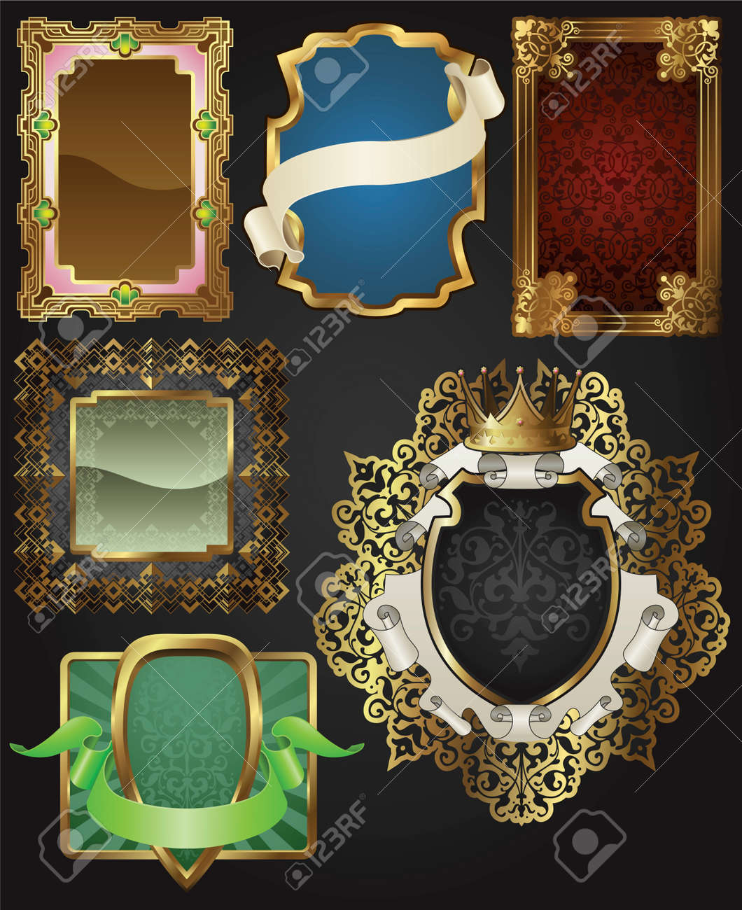 Vintage retro glossy gold frames and labels in a variety of retro antique styles. Stock Vector - 8898298